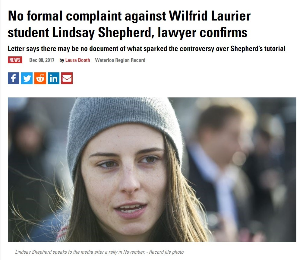 """No formal complaint against Wilfrid Laurier student Lindsay Shepherd, lawyer confirms"" - The Record"
