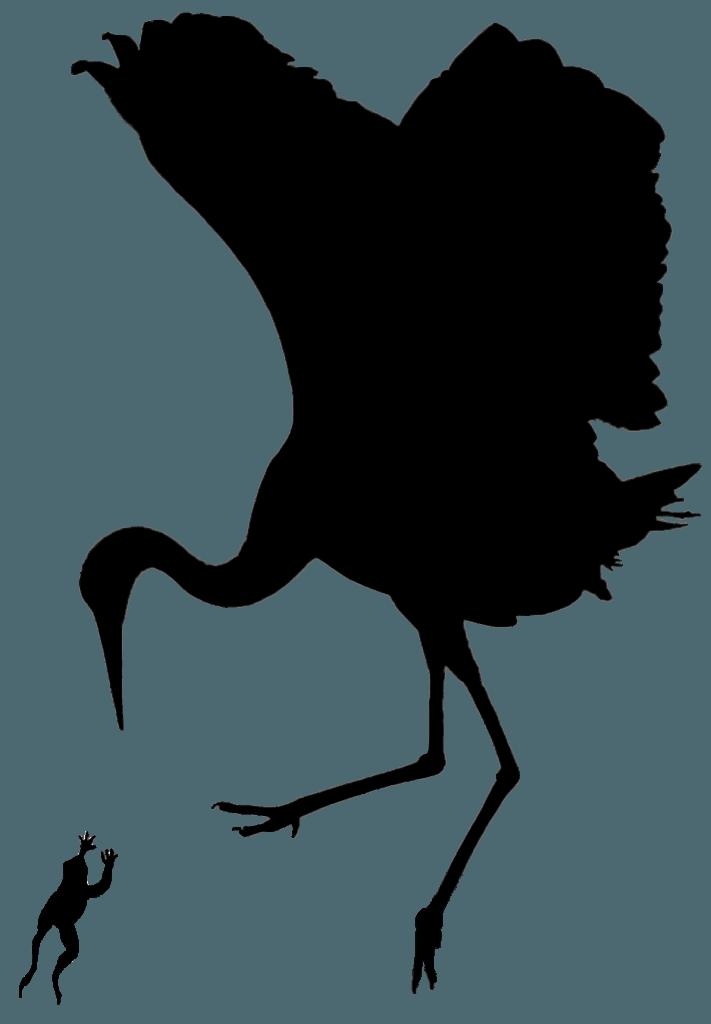 crane eating frog