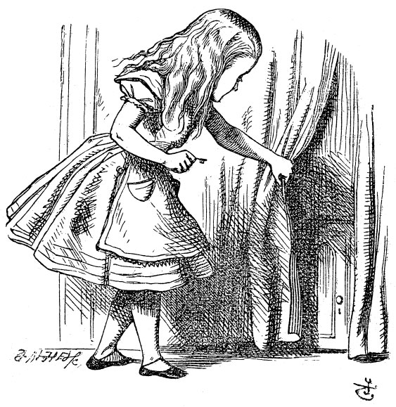 alice looking behind curtain